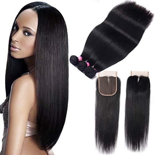 10A Grade Brazilian Straight Hair Bundles with Closure Unprocessed Virgin Straight Human Hair 3 Bundles with Middle Part Lace Closure B-Fashion Remy Human Hair Weave Extensions (20 22 24 and 18) ()