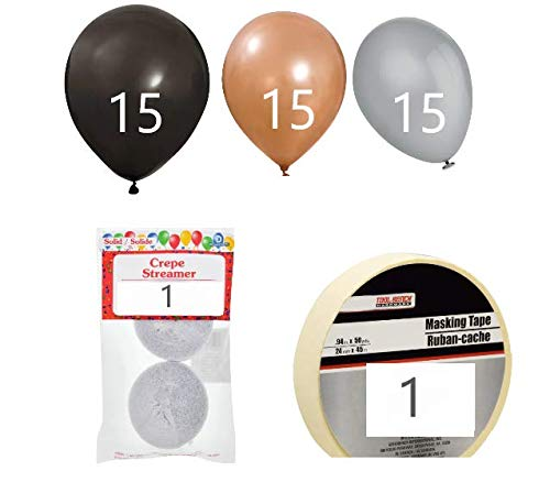 (It is Your Birthday. Match The Carpet Dwight Schrute Decoration kit (15) Black,(15) Silver,(15) Brown Balloons, 2-roll Streamer Pack & Tape ~ from The Office Birthday kit )