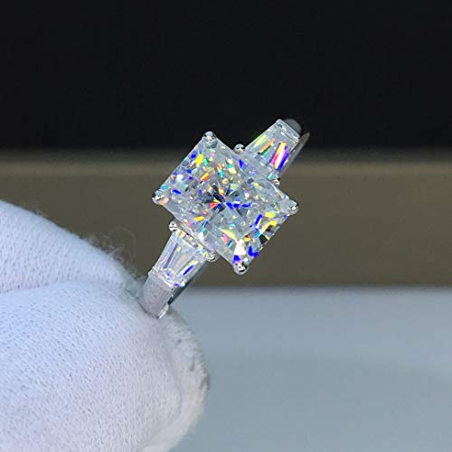 - Moissanite Engagement Ring Two Carats Colorless VVS1 Baguette Three Stone Radiant Cut 14K 18K White Gold Rose Gold Yellow Gold Platinum