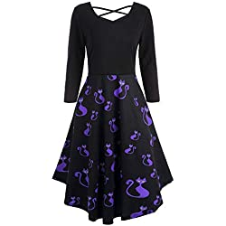GOVOW Long Sleeve Dresses for Women Hollow Halloween Cat Print Flare Dress Party Casual Dresses(US:12/CN:XXL,Purple-A)