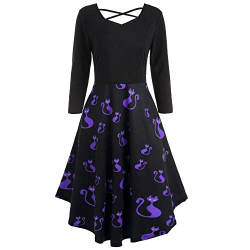 Clearance Sale!Toimoth Women Long Sleeve Hollow Halloween Bat Print Flare Dress Party Casual -