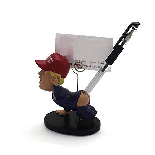 TBW Funny Bobble Head Doll Donald Trump Pen Holder Middle Finger Business Card Holder for Novelty Present Car - Head Bobble Ceramic