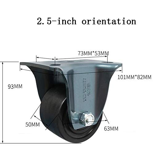 MUMA Heavy Duty 2.5/3 Inch Universal Low Center Of Gravity Casters Industrial Wheel Machinery And Equipment Round Wheel Barrow Nylon Wheel Load 600 Kg (Color : Directional, Size : 2.5 inch)