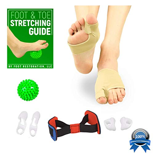 Bunion Corrector Kit: Orthopedic 8-Piece Toe Spacer | Realignment for Hallux Valgus & Hammer Toe | Bonus Foot & Toe Stretching Guide