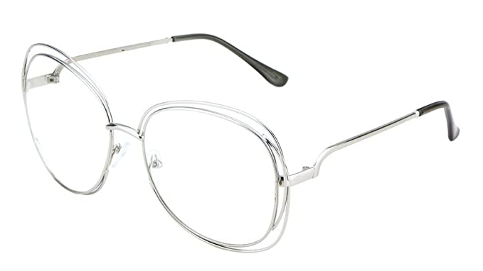 Amazon.com: Oversized Clear Lens Glasses Butterfly Thin Metal Frame ...