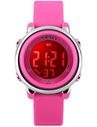 Kid Watch Multi Function 50M Waterproof Sport LED Alarm Stopwatch Digital Child Wristwatch for Boy Girl Pink