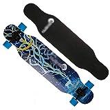 Longboard Skateboard Male and Female Dance Board Anti-Impact Skateboard High Elastic PU Wheel Skateboard (Color : A)