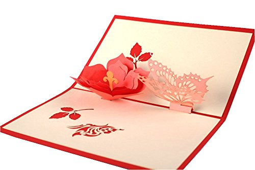 IShareCards Handmade 3D Pop Up Greeting Cards for Every Occasion (Flower with butterfly)