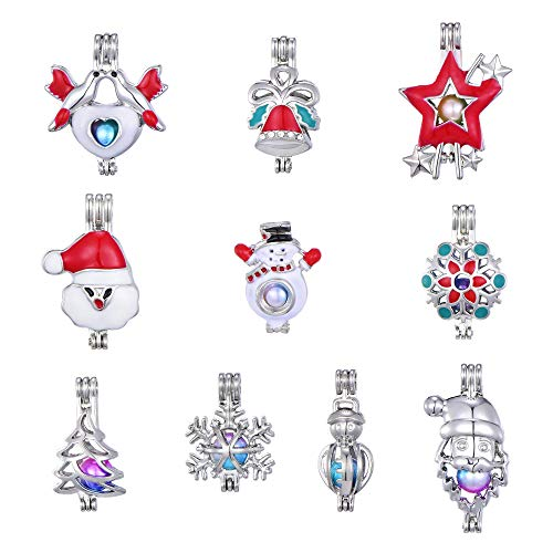 - 10pcs Red Christmas Jingle Bell Snowman Enamel Diamond Pearl Cage Jewelry Making Supplies Rhodium Plated Bead Cage Pendant/for Oyster Pearls, Essential Oil Diffuser, Fun Gifts (Style 1)