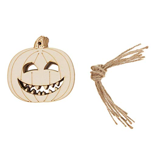 10pcs Wooden Tag Wood Gift Tags with Natural Jute Twine Hanging Gift Tags Halloween Party Tree Ornament - Evil Pumpkin