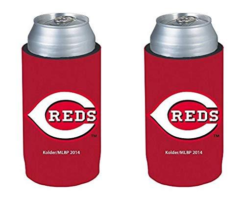 MLB 2014 Baseball Ultra Slim Beer Can Holder Koozie 2-Pack - Pick Your Team (Cincinnati Reds)