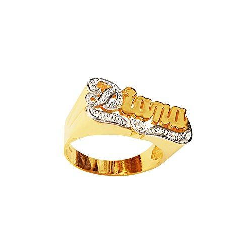 Silver N Style Lee094cz-14k Gold 11mm One Cubic Zirconia Heart Name Ring with Pave-cut (yellow-gold, 8) -
