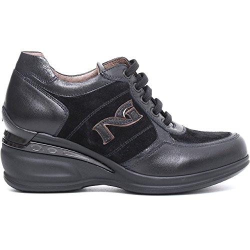 19210 Nero Scarpa Donna Zeppa Nero Gairdini Sneakers Logo Laterale Accessorio Metallo Made in Italy