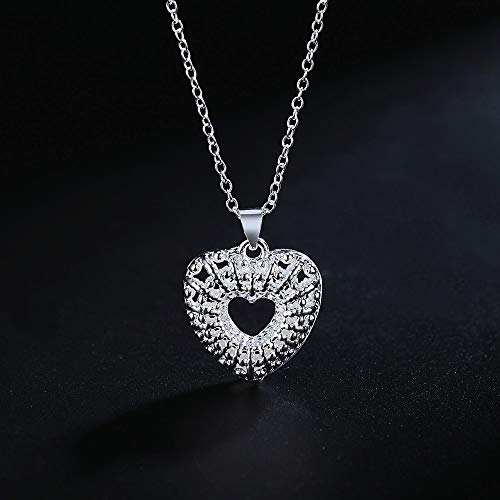 Silver Plated Hollow Heart Shape Necklace Jewelry for Women's Wedding Party Necklaces for Women Long Gold Chocker Sterling Silver Customized Fashion Jewelry