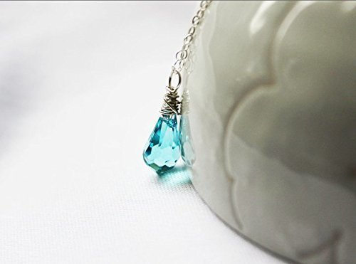 Turquoise blue necklace, Swarovski crystal necklace, teardrop pendant, seafoam green, Simple necklace, sterling silver, Clear vial water