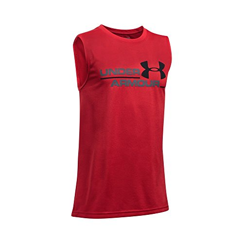Under Armour Boys' Double Header Tank, Red/Graphite, Youth X-Large