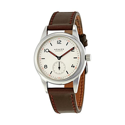 Nomos Club White Dial Brown Leather Mens Watch 701