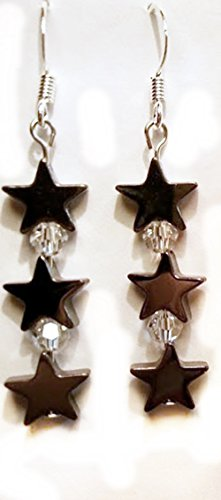Hematite Triple Star Earrings with Clear Round Swarovski Crystals - French Flat (Round French Wire Earrings)