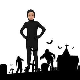 - 41JSlVpf1 L - BESTOYARD Black Full Body Halloween Costume Open Face Zentai Suit for Kids Size L