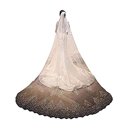 Fenghuavip 1 T Wedding Veils Crystals Beads Lace Cathedral Bridal Veils with Rhinestones