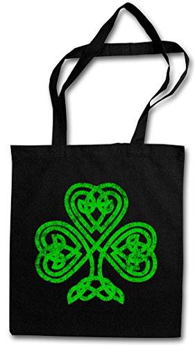 SHAMROCK IRISH KNOT I Hipster Shopping Cotton Bag Borse riutilizzabili per la spesa – irlandese Irlanda quadrifoglio Cloverleaf Irland Ireland Runes Rune