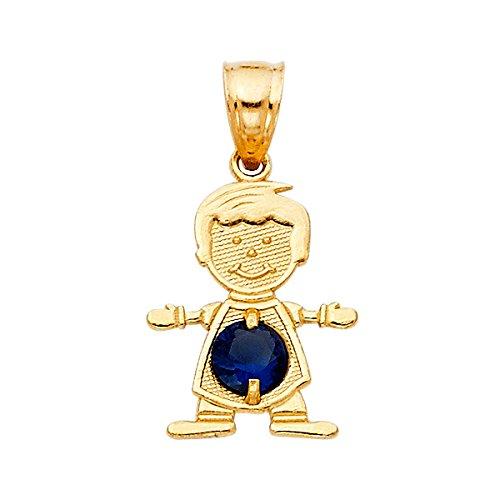 (TGDJ 14K Real Yellow Gold Birthstone Charm Boy Pendant (9. September))