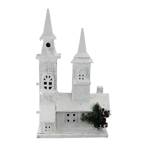 Northlight 16.5'' LED Lighted White Wooden Snowy Church Christmas Decoration by Northlight
