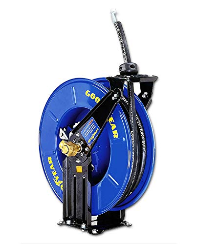 GOODYEAR Oil Hose Reel Retractable Spring Driven Steel Construction Elite Heavy Duty Industrial Dual Arm and Pedestal 1/2