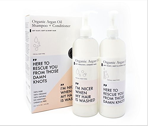 Shampoo & Conditioner Set (16oz x 2) w/ Argan Oil - SULFATE, PARABEN & CRUELTY FREE - For Healthier Hair & Scalp - by Grace & Stella Co.
