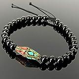 Joyería bohemia, diseño azteca, brazalete con dijes de yoga, piedras preciosas de ónix negro elegante y pulido, astillas de mosaico azul turquesa y coral rojo, cordones de cordón ajustables trenzados hechos a mano, metal de latón genuino