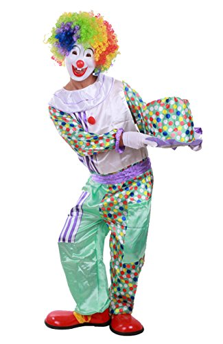 Honeystore Unisex Burlesque Dot Clown Onesies Halloween Homemade Jester Costume (Homemade Halloween Costumes For Men)