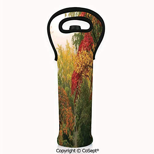 Portable Wine Tote Holders,Maple Trees in the Fall at Portland Japanese Garden One Foggy Morning Scenery,Wine Bottle Protector(4.72x14.96 inch) Red Yellow Green]()