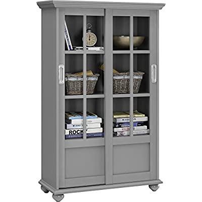 Ameriwood Home Altra Aaron Lane Bookcase with Sliding Glass Doors, Soft Gray: Kitchen & Dining