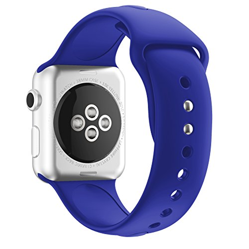 Soft Silicone Sport Style Replacement Iwatch Strap for Apple Wrist Watch Series 1 Series 2(Royal Blue 42mm M/L) (Blue Royal Series)