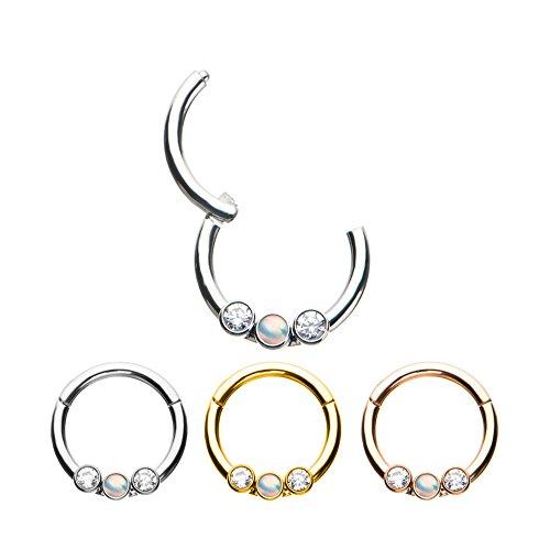 Ring Bezel Set Gem Bead - Pierced Owl 16G 5/16