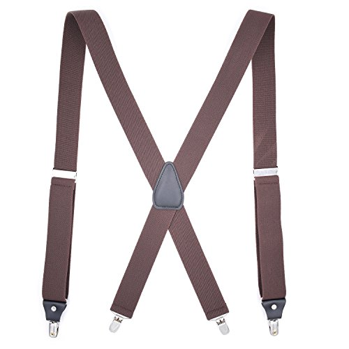Suspenders For Men with Adjustable 1.4 Inch Wide Elastic Bands and 4 Premium Metal Clips in Classic Series X-Back Style Good for Work and Business Outfit (Brown) -