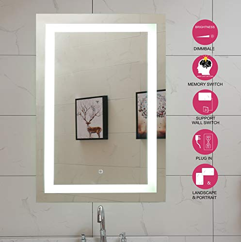 24X36 Inch LED Lighted Bathroom Mirror with Dimmable Touch Switch (GS099H-2436)(24x36 -