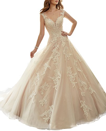 TBB Women's Double V-neck Bridal Gown Tulle Lace Ball Gown Beaded Wedding Dress (18plus, Champagne)