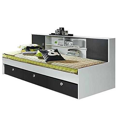 Schlafcouch jugendzimmer  Funktionsbett Manuel weiß grau inkl Schubladen + Regal Kinderbett ...