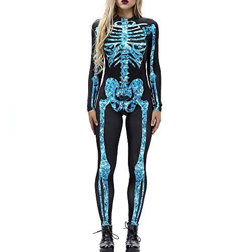 Carprinass Digital Print Sugar Skull Skeleton Day of The Dead Body Suit Costume ()