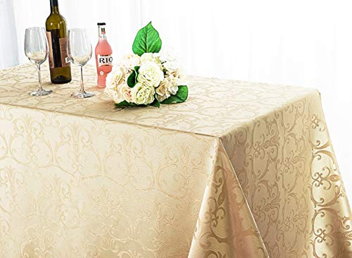 Wedding Linens Inc. 90 Inch x 132 Inch Rectangular Versailles Chopin Jacquard Damask Polyester Tablecloths Table Cover Linens for Restaurant Kitchen Dining Wedding Party Banquet Events – Champagne