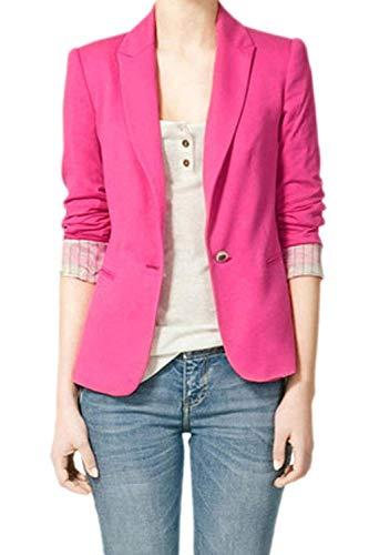 Puro Casual Tailleur Blazer Giacca Giovane Lunga Bavero Outerwear Chic Autunno Cappotto Button Moda Colore Da Donna Rosso Manica Business qgw0cp0B