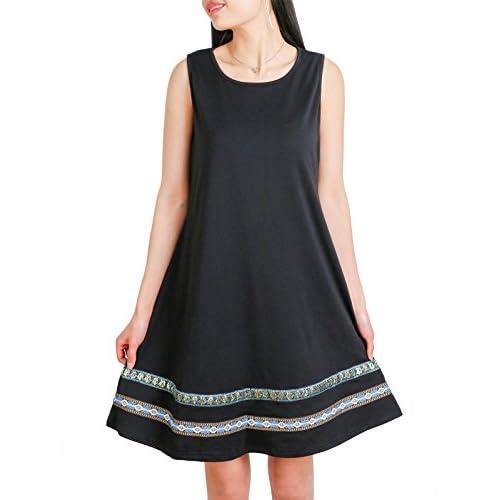 Wholesale DSUK Womens Summer Sleeveless Tank Dresses O Neck Banded Hem Boho Loose T Shirt Dress hot sale gJQBBFco