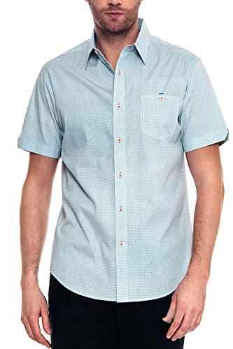 Retro Lounge - Woody's Retro Lounge Men's Slim-Fit Short-Sleeve Casual Shirt (Teal, Large)
