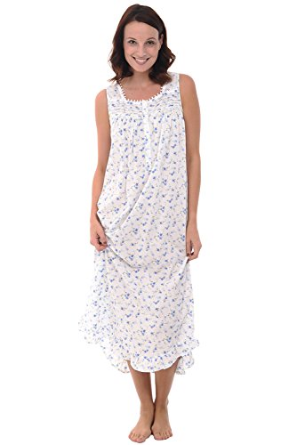 (Alexander Del Rossa Womens 100% Cotton Lawn Nightgown, Long Sleeveless Chemise, XX-Large Blue Flowers (A0581L062X) )