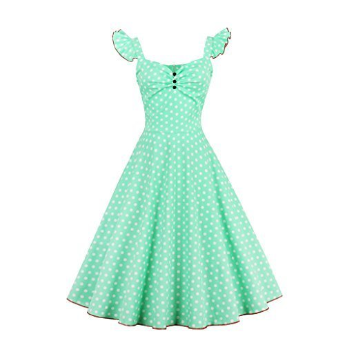 Suroomy Vintage Halter Cocktail Dress 1950S Retro Swing Homecoming Dresses (XL, Green) by Suroomy