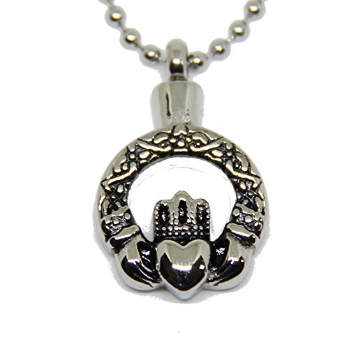 Lauren Annabelle Studio Claddagh in Circle Irish Cremation Urn Stainless Steel Ash Pendant Jewelry