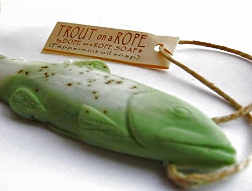 Trout Soap on a Rope by Dope on a Rope, Eucalyptus Peppermint Soap, Beauty & Personal Care, Gifts for Men, Gifts for Dad, Handmade Soap, Best Stocking Stuffers,