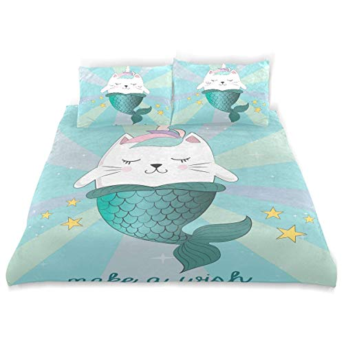SUABO 3 Pieces Duvet Cover Set Twin Size Comforter Cover Cat Unicorn Mermaid Ultra Soft Bedding Duvet Cover for Kids ()