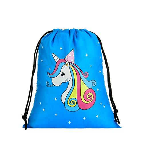 LIHI BAG Kids 10 Pack Party Favors Gift Drawstring Pouch Goodie Bags, Unicorn ()
